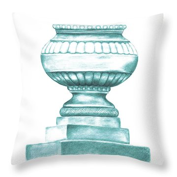 Throw Pillow featuring the digital art Blue Jardiniere  by Elizabeth Lock