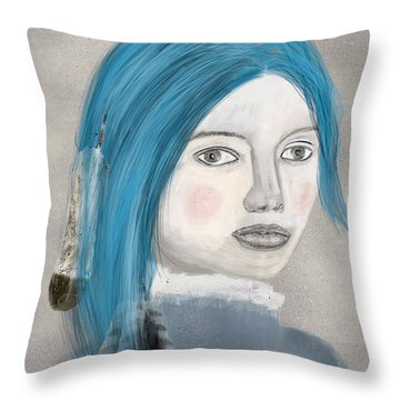 Throw Pillow featuring the painting Blue Jasmine by Bri B