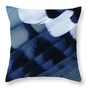 Blue Jay Cyanocitta Cristata Feathers Throw Pillow by Rolf Nussbaumer