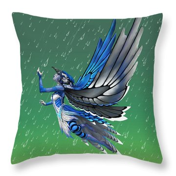 Blue Jay Fairy Throw Pillow