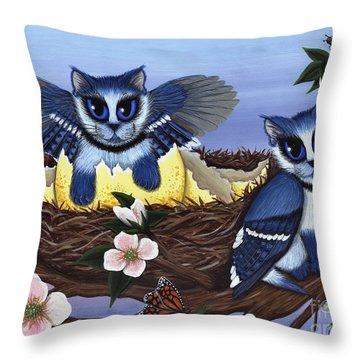Blue Jay Kittens Throw Pillow