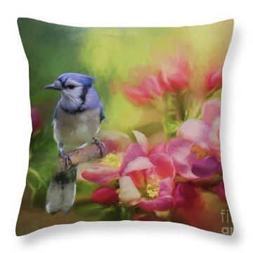 Blue Jay On A Blooming Tree Throw Pillow by Eva Lechner