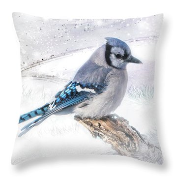 Throw Pillow featuring the photograph Blue Jay Snow by Patti Deters
