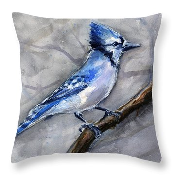 Blue Jay Watercolor Throw Pillow