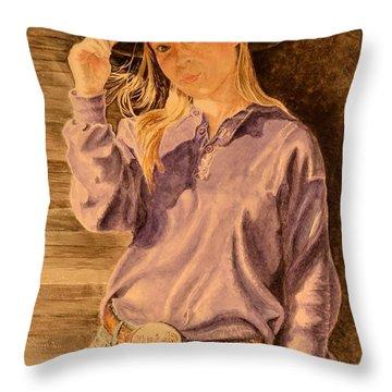 Blue Jean Cowgirl Throw Pillow
