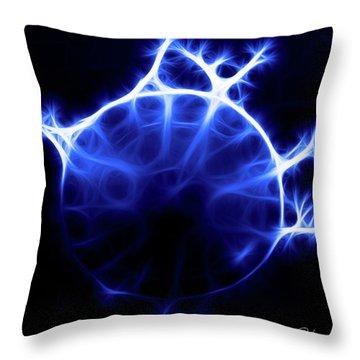 Blue Jelly Fish Throw Pillow by Joann Copeland-Paul
