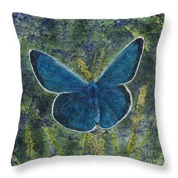 Blue Karner Butterfly Watercolor Batik Throw Pillow