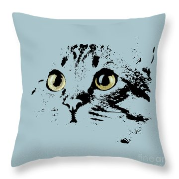 Blue Kitten Portrait Throw Pillow
