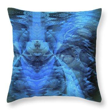Throw Pillow featuring the digital art Blue Kitty by Visual Artist Frank Bonilla
