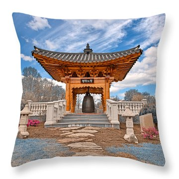 Blue Korean Bell Garden Throw Pillow