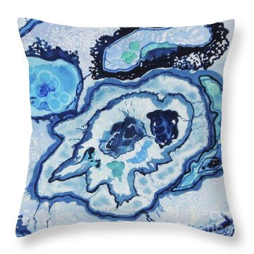 Throw Pillow featuring the painting Blue Lace Agate I by Ellen Levinson