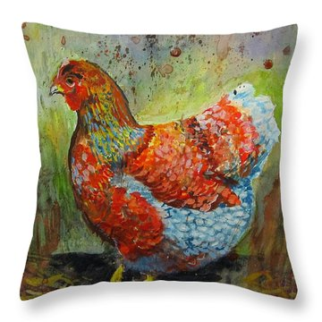 Blue Laced Wyandotte Hen Throw Pillow