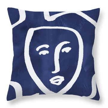 Blue Lady- Art By Linda Woods Throw Pillow