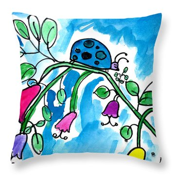 Blue Ladybug Throw Pillow