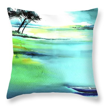 Throw Pillow featuring the painting Blue Lagoon by Anil Nene