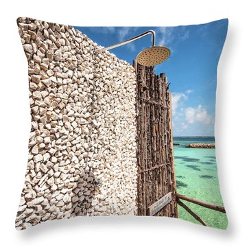Throw Pillow featuring the photograph Blue Lagoon View by Jenny Rainbow