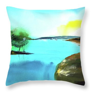 Throw Pillow featuring the painting Blue Lake by Anil Nene