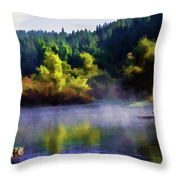 Blue Lake Spring Misty Geese  Throw Pillow
