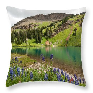 Throw Pillow featuring the photograph Blue Lakes Summer Splendor by Cascade Colors