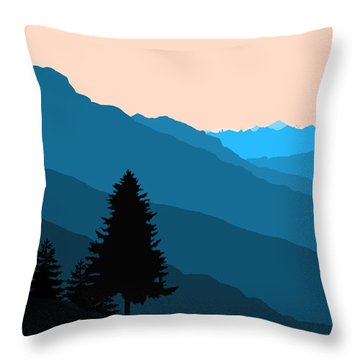 Blue Landscape Throw Pillow by Thomas M Pikolin