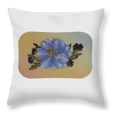 Blue Larkspur And Oregano Pressed Flower Arrangement Throw Pillow