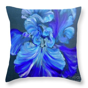 Blue/lavender Iris Throw Pillow