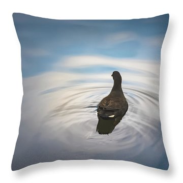 Blue Light Moorhen Throw Pillow