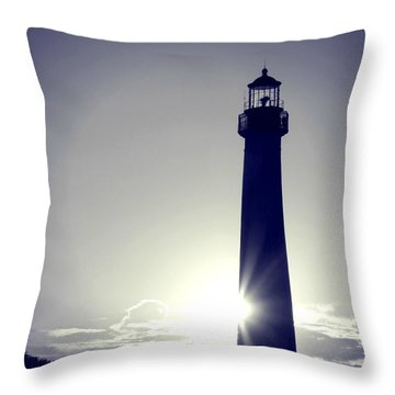 Blue Lighthouse Silhouette Throw Pillow