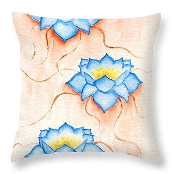 Blue Lilies Throw Pillow