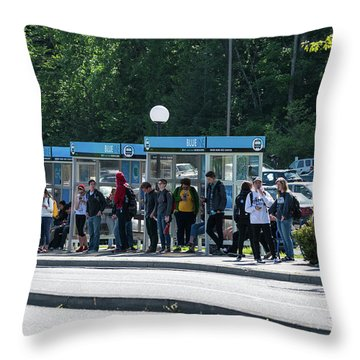 Blue Line On Campus Throw Pillow