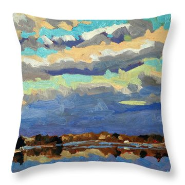 Blue Line Throw Pillow by Phil Chadwick