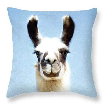 Blue Llama Throw Pillow