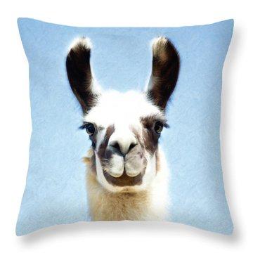 Blue Llama Throw Pillow