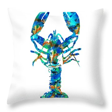 Blue Lobster Art By Sharon Cummings Throw Pillow