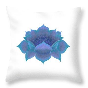 Throw Pillow featuring the digital art Blue Lotus by Elizabeth Lock