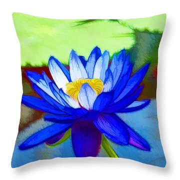 Blue Lotus Flower Throw Pillow by Lanjee Chee