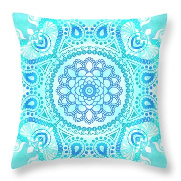Throw Pillow featuring the painting Blue Lotus Mandala by Tammy Wetzel