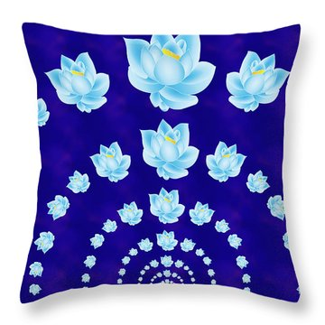 Blue Lotus Tunnel Throw Pillow by Samantha Thome