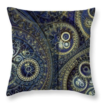 Blue Machine Throw Pillow