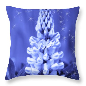 Blue Magic Sparkle Lupine  Throw Pillow by Cathy  Beharriell