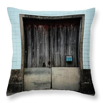 Throw Pillow featuring the photograph Blue Mailbox by Marco Oliveira