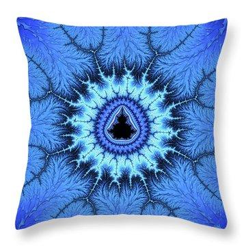 Throw Pillow featuring the digital art Blue Mandelbrot Fractal Relaxing And Balanced by Matthias Hauser