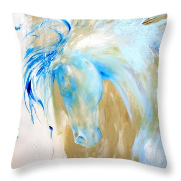Blue Mane Throw Pillow