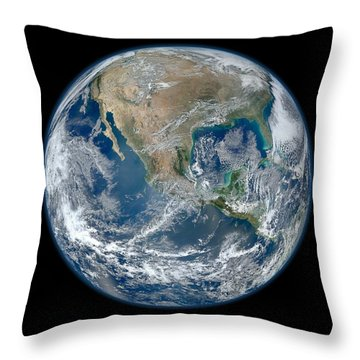 Throw Pillow featuring the photograph Blue Marble 2012 Planet Earth by Nikki Marie Smith