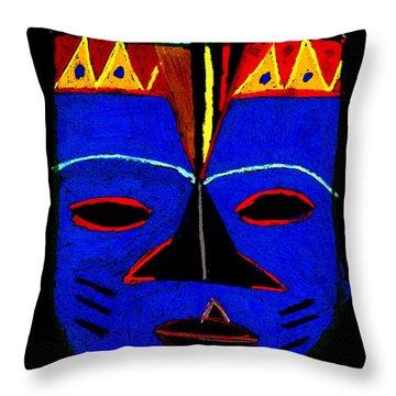 Blue Mask Throw Pillow by Angela L Walker