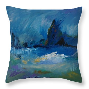 Blue Meadow Throw Pillow