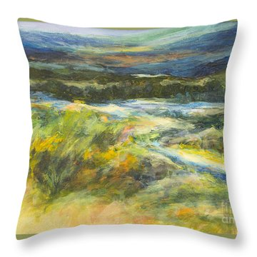 Blue Meadows Throw Pillow by Glory Wood