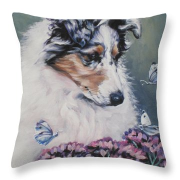 Blue Merle Collie Pup Throw Pillow by Lee Ann Shepard