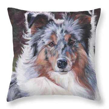 Throw Pillow featuring the painting Blue Merle Sheltie by Lee Ann Shepard