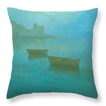 Blue Mist At Erbalunga Throw Pillow